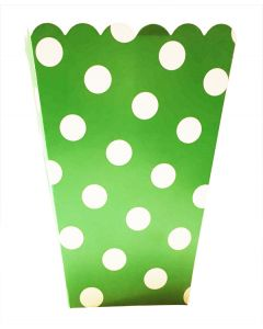 green polka dot popcorn bag