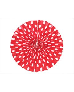 red polka dots paper fans