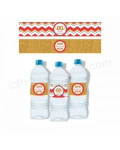 60th Birthday Theme Water Bottle Labels