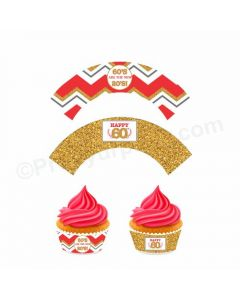 60th Birthday Theme Cupcake Wrappers