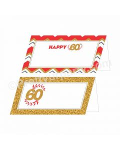 60th Birthday Food Labels / Buffet Table Cards