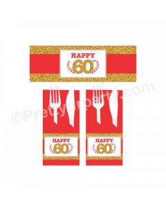 60th Birthday Theme Napkin Rings