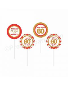 60th Birthday Theme Cupcake / Food Toppers