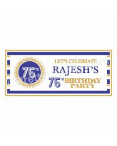 Personalized 75th Birthday Theme Banner 30in