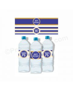 75th Birthday Theme Water Bottle Labels