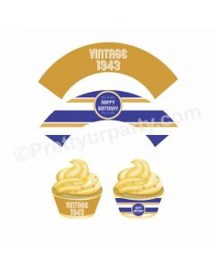 75th Birthday Theme Cupcake Wrappers