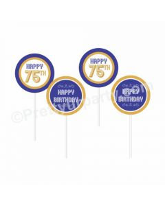 75th Birthday Theme Cupcake / Food Toppers