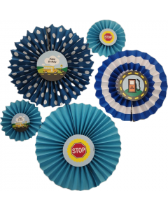 Wheels On The Bus Paper Fans - Set of 5