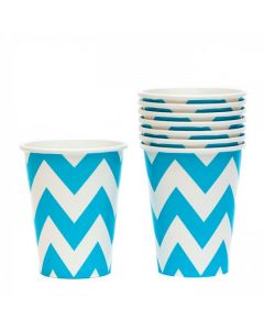Blue Chevron Paper Cups