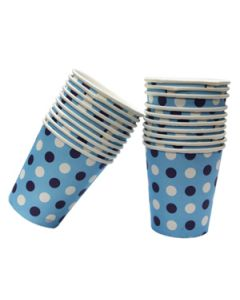 dark blue polka dots paper cups