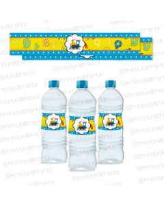 Alphabets and Train theme Water Bottle Labels