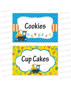 Alphabets and Train theme Food Labels / Buffet Table Cards