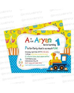 Alphabets and Train theme Invitations