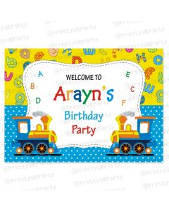 Alphabets and Train theme Entrance Banner / Door Sign