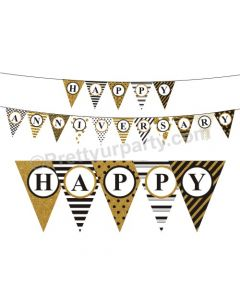 Gold Glitter and Black Happy Anniversary Bunting