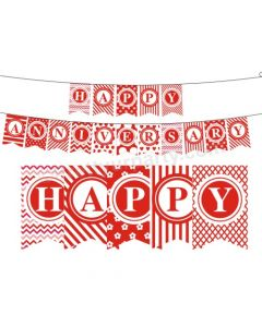 Red and White Happy Anniversary Bunting