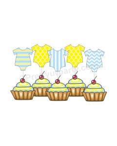 Yellow and Blue Baby Dress Cupcake Topper