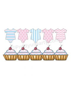 Pink and Blue Baby Dress Cupcake Topper