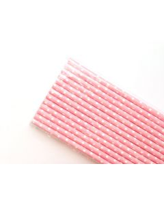 Baby Pink with White Polka Dots Paper Straw