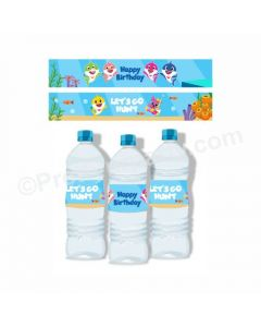 Baby Shark Theme Water Bottle Labels