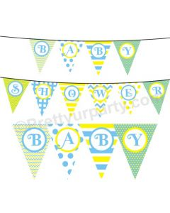 Blue and Yellow Pattern Baby Shower Bunting