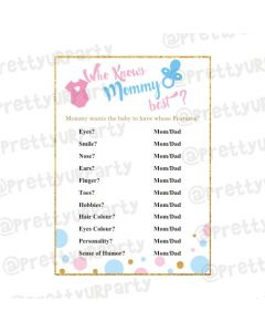 Baby Shower Who knows Mommy Best Game