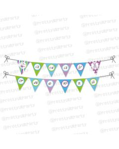 Purple and Green Baby shower Bunting
