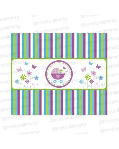 purple and green baby shower chocolate wrappers