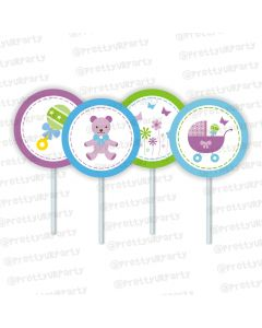 purple and green cupcake / food toppers