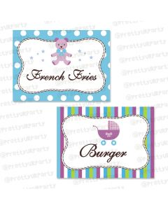 purple and green food labels / buffet table cards