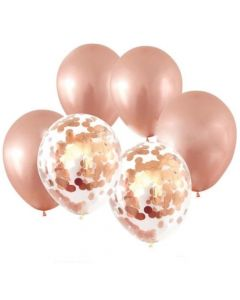 Rose Gold with Confetti Latex Balloons
