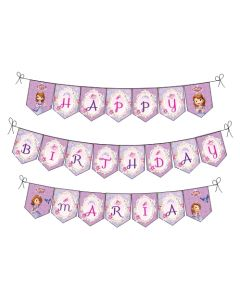 Sofia the first Enchanted Garden Party Happy Birthday Banner