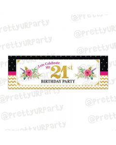 Personalized 21st Birthday Theme Banner 36in