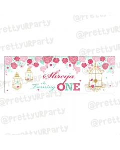 Personalized Mint and Pink Floral 1st Birthday Theme Banner 36in