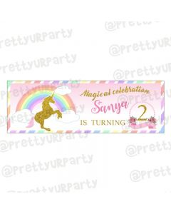 Personalized Unicorn Theme Banner 36in