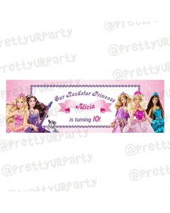 Personalized Barbie Rockstar Birthday Banner 36in