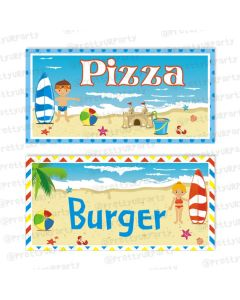 beach theme food labels / buffet table cards