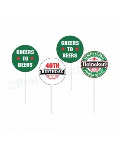Beer Party Theme Cupcake / Food Toppers