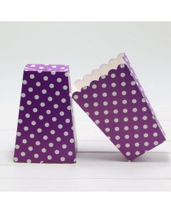 Purple Polka Dot Popcorn Box - Pack of 10