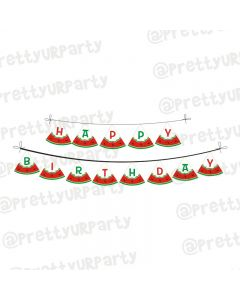 Watermelon Theme Happy Birthday Banner