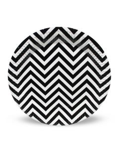 Black Chevron Paper Plate