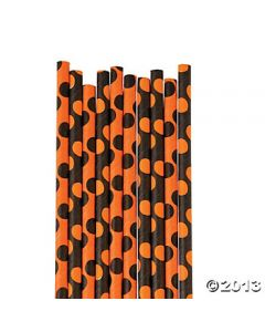 Black and Orange Polka Dots Paper Straw