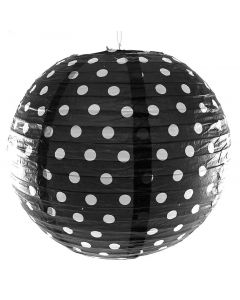 Black Polka Dot Round Paper lamps 12""