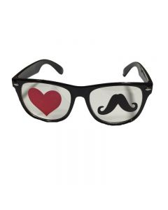 Black Moustache and Hearts Goggles