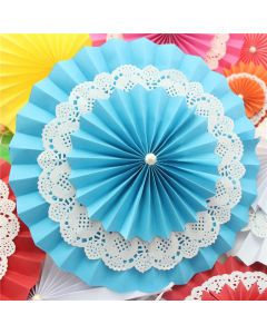 Blue Rosette Paper Fans with Doily - Big