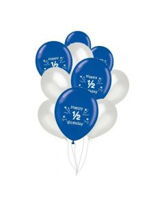 Blue and Silver 1/2 Birthday Balloons