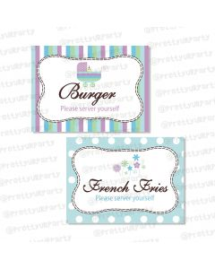 Blue and Purple Food Labels / Buffet Table Cards