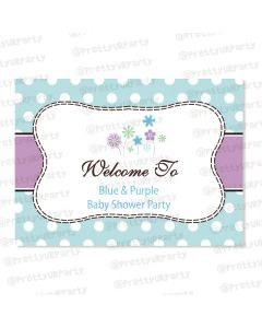 Blue and Purple  Entrance Banner / Door Sign
