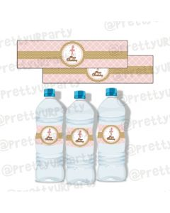 Pink and Gold Ballet Water Bottle Labels