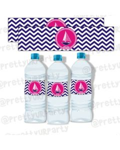 Girly Nautical water bottle labels